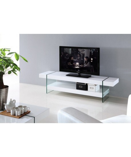 Módulo de TV de cristal y madera lacada blanco 160x40 cms - GASTBY