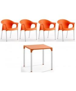 Pack NILO 4 Sillones + Mesa en color naranja