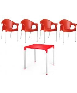 Pack NILO 4 Sillones + Mesa color rojo