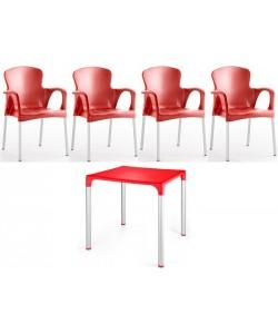 Pack SENA de 4 Sillones y 1 Mesa en color rojo