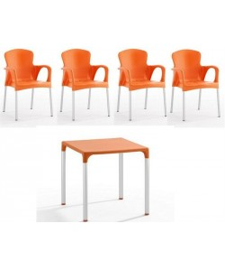 Pack SENA 4 Sillones + Mesa color naranja