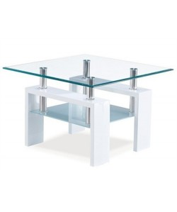 Mesa baja con tapa de cristal y armazón de DM lacado blanco 60x60 cms - KIW-CUBL