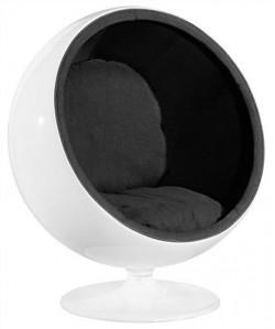 Sillón con forma de huevo color negro - BALL-BN