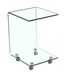 Mesa HERMES-TR baja con ruedas y cristal curvado 50x50 cms