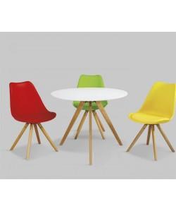 Mesa con tapa blanca y patas de madera 90 cms de diámetro - LEEDS-BL
