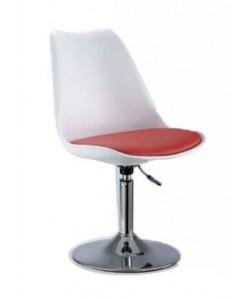 Silla de diseño con respaldo polipropileno blanca y cojín rojo - TORRE-PL-BR