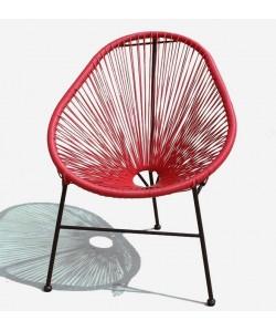 Silla CANCUN-RO con asiento de tiras de polipropileno rojas