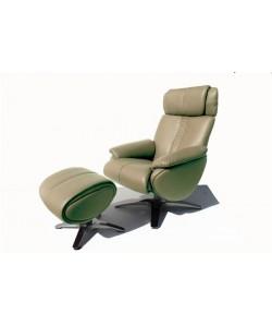Sillón JOLIE con ottoman de relax en tejido verde