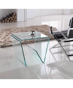 Mesa HOLA-TR, transparente, cristal curvado, 55x45 cms