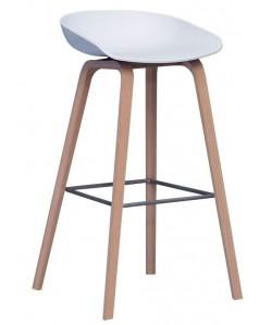 *Taburete AWAK (HT), madera, asiento blanco