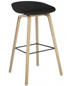 *Taburete AWAK (HT), madera, asiento negro