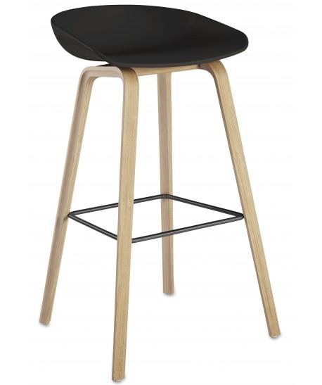 *Taburete AWAK, madera, asiento negro