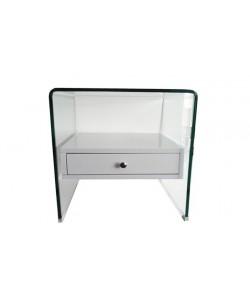 Mesa OPERA, cristal curvado, cajón blanco, 50x45 cms