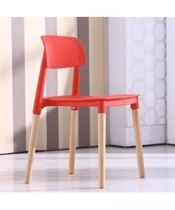 Silla CROSCAT (K), madera, polipropileno rojo