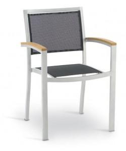 Sillón KOS, aluminio, plata, textilene negro