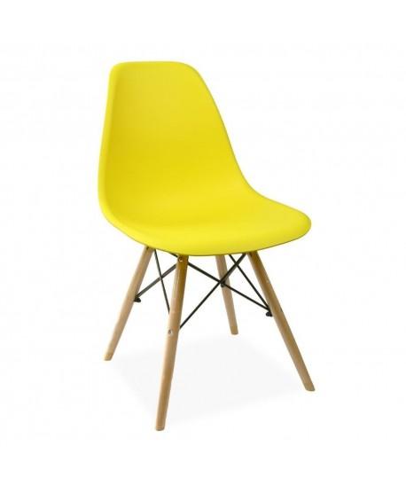 Silla TOWER PP, madera, polipropileno amarillo