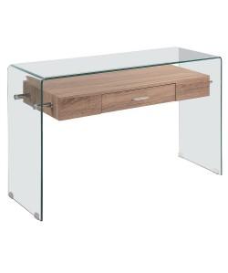 Consola MARILYN, madera, cristal, 120x40 cms