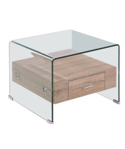 Mesa MARILYN, baja, madera, cristal, 50x50 cms