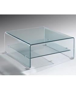 *Mesa DREW, baja, cristal curvado, 60x60 cms