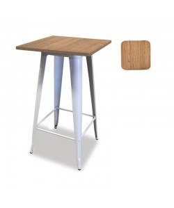Mesa TOL, alta, acero, madera, blanca, 60x60 cms