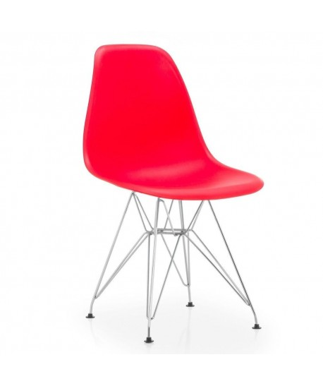 Silla TOWER, cromada, polipropileno rojo