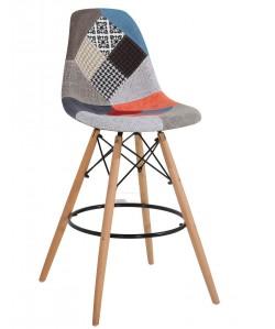 Taburete TOWER, madera, tapizado patchwork