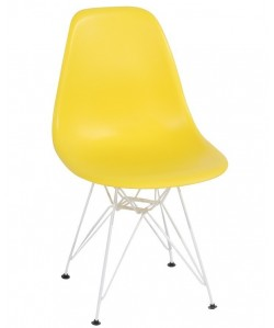 Silla TOWER, blanca, polipropileno amarillo