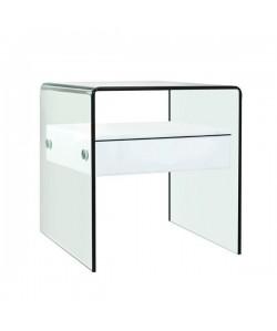 Mesa CORIN, cristal curvado, cajón blanco, 50x45 cms