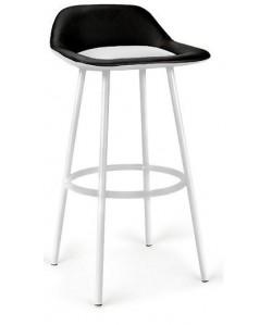 Taburete FRENCH, epoxi blanco, similpiel negro y blanco