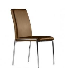 Silla AURI, cromada, tapizada marrón