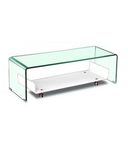 Módulo TV NAIM, cristal transparente-blanco, 120x40 cms