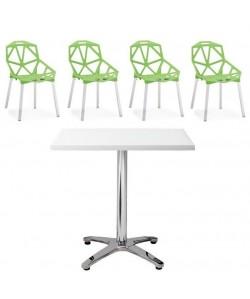 Pack ROCAM, Mesa y 4 sillas de color verde