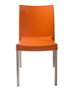 Silla NICO, aluminio polipropileno naranja brillo