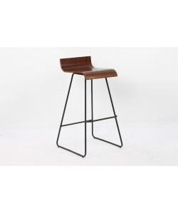 Taburete PIETRO, metal, madera nogal