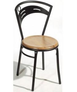 Silla de hostelería CIBEL, color a elegir, asiento madera.