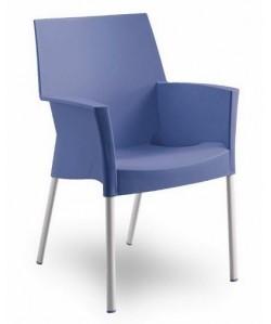 Sillón de diseño BELLA polipropileno y aluminio, azul claro.