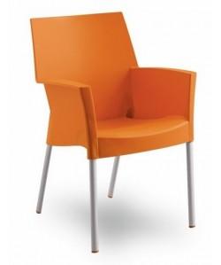 Sillón de diseño BELLA, polipropileno y aluminio, naranja.