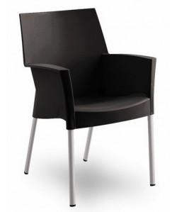 Sillón de diseño BELLA, polipropileno y aluminio, negro.