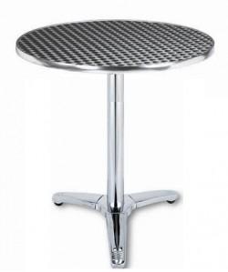 Mesa de aluminio ATLAS, tapa inoxidable 70 cms. diámetro