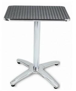Mesa de aluminio ATLAS, tapa inoxidable 70x70 cms.