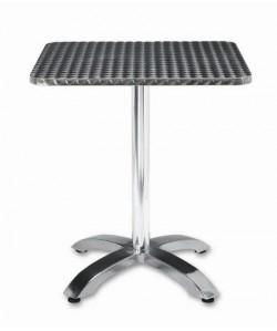Mesa de aluminio ROMEO, tapa 80x80 cms. inoxidable repulsada.