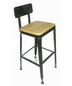 Taburete BRATIO, acero, asiento madera.