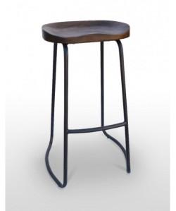 Taburete EPOA,acero, asiento madera.