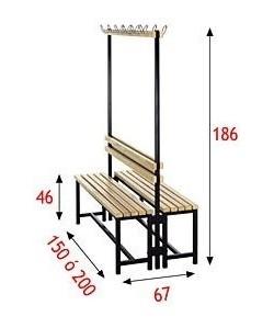Banco 287R, perchero y respaldo de 150X30 cm o 200x30 cm