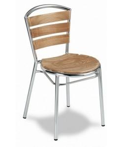 Silla de aluminio Rf. 3151705, asiento y respaldo lamas de madera.