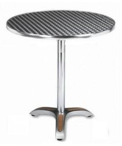 Mesa de aluminio, Rf. 3154035, pie teka, tapa inoxidable 70 cms. diámetro