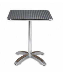 Mesa de aluminio, Rf. 3154045, pie teka, tapa inoxidable 70x70 cms.