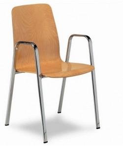Sillón 3152365, cromado, asiento y respaldo madera barnizada.