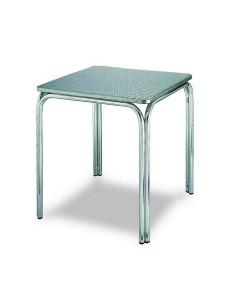 Mesa de aluminio, Rf. 3153825, doble tubo, tapa inox. 80 x 80 cms