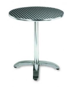 Mesa de aluminio, Rf. 3154005, inoxidable repulsada 70 cms. diámetro